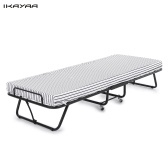 Second Hand iKayaa Metal Frame Rollaway Single Folding Guest Bed Cot with Mattress 360°Casters 110kg Capacity