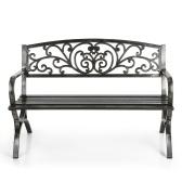 Deuxième main iKayaa 3 places de fer patio jardin parc banc chaise en métal porche cour sièges extérieurs meubles 220KG capacité Antique Design