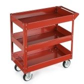 Second Hand iKayaa 3 Shelves Steel Tool Cart 100KG Capacity Utility Cart Storage Service Cart W/ 360°Swivel Casters Red/Black