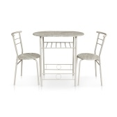 Second Hand iKayaa Modern Metal Frame 3PCS Breakfast Dining Table Set with 2 Chairs Compact Kitchen Bistro  Set 100kg Capacity