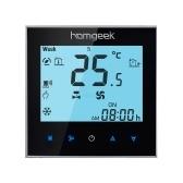 Homgeek 110 ~ 240V Thermostat à deux tuyaux avec écran LCD de bonne qualité Écran tactile de qualité programmable Contrôleur de température ambiante