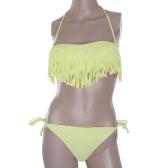 Moda Sexy Kobiety Swimwear Boho Tassel Fringe Wyściełana Bandeau Bikini Plaża Strój kąpielowy Zestaw Żółty