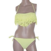 Moda mujeres Sexy traje de baño Boho franja borla Bandeau acolchado playa traje de baño Bikini conjunto amarillo