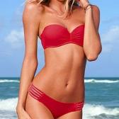 Swimwear Underwire push-up do mulheres sexy acolchoado maiô estampado com praia biquini removível cinta vermelha