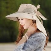 Moda donne sole cappello tesa larga pieghevole con laccetti fiocco estate spiaggia Floppy Cap Headwear Khaki