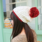 Autumn Winter Women Knitted Hat Contrast Bobble Beanies Ski Hat Warm Thick Cap Headwear