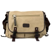 Męska Płótno vintage Crossbody Satchel ramię Casual Messenger Bag Camel School Book