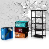iKayaa Antique Style Fabric 4-Drawer Home Office Storage Cabinet Organizer for Clothes Toys Sockets Storage Box