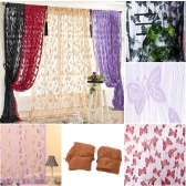 2Pcs 100*200cm Elegant Butterfly Pattern Pure Color Tassel String Door Window Curtain Divider Room Wall Decoration White