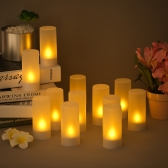 12pcs/set Rechargeable LED Flickering Flameless Candles Tealight Candles Lights with Frosted Cups Charging Base Yellow Light AC100-240V