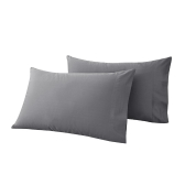 Htovila 2pcs/set 300 Thread Count 100% Cotton Pillow Cases Soft Breathable Envelope Closure End Pillow Covers Pillowcases--Grey, Queen Size