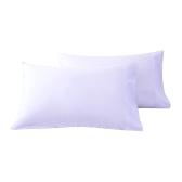 Htovila 2pcs / set 300 compte de fil 100% coton taies d'oreiller doux respirant enveloppe taie d'oreiller de fermeture couvre taies d'oreiller - gris, grand lit