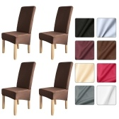 4pcs Solid Color Chair Cover Stretch Chair Protector Non-slip Removable Washable for Dining Chair Hotel Coffee