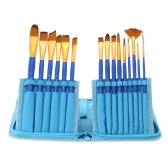 15pcs Different Shape Nylon Hair Paint Brush Set Wooden Handle Gouache Watercolor Oil Painting Acrylics Art Supplies