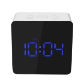 Digital LED Mirror Clock 12H/24H Alarm and Snooze Function °C/°F Indoor Thermometer Adjustable LED Luminance--Blue