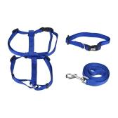 3 unids / set collar de perro y arnés y correa conjunto arnés de cuello ajustable 1.2 m correa para caminar XS / S / M / L tamaño para perros pequeños / medianos / grandes gatos