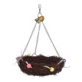 Natural Bird Nest Color Parrot Wiszące Swing Chew Toy Bird Cage Akcesoria dla Parakeet Budgie Macaw Cockatoo