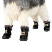 4 pièces Set Chiot Pet Chien Chat Chaussures Bottes Patte Protecteurs Hiver Chaud Etanche PU Anti-Caoutchouc