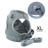 Dog Harness No-Pull Pet Harness Step-in Air Dog Harness, Soft Mesh Cat Harness, Step in Vest Harness Adjustable Outdoor Pet Vest, Reflective Harness for Pet Kitten Puppy Rabbit, (Silver gray,XL)