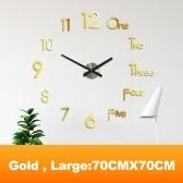 3D DIY Relógio de parede Decoração Adesivo Sem moldura Pequeno Kit de relógio de parede DIY para casa Sala de estar Quarto Decoração de escritório (sem bateria)