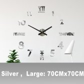 DIY Wall Clock 3D Mirror Stickers Large Wall Clock Frameless Modern Design Large Watch Silent Home Office Number Clock Decorations Gift(Silver,Large)