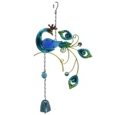 Glass Wind Chime Peacock Shaped Hanging Ornament Bell Wind Chimes