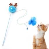 Palo interactivo para gatos con varita de plumas de campanas de bolas
