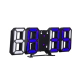 3D LED Digital Clock Electronic Table Clock Alarm Clock Wall Glowing Hanging Clocks White Shell White Display