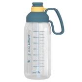 Бутылка для воды 1800 мл с маркером и соломинкой большой емкости