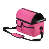Esonmus Portable Double-Deck Leakproof Insulated Cooler Lunch Bag Baby Bottle Heat Insulation Tote Bag with Detachable Shoulder Strap--Rose Red