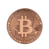 Биткойн Памятная круглая тисненная монета Серебряная позолоченная коллекция сувениров из коллекции монет