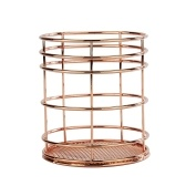 304 Stainless Steel Decorative Desktop Storage Elegant Holder Metal Stationery Container Office Supplies Cosmetics Makeup Brush Holder Rose Gold