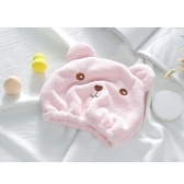 Soft Velvet Hair Dry Hat for Children Strong Water Absorption Towel Cap with Cute Animal Style