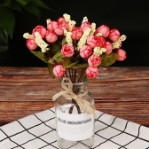 15Pcs Rose Buds Simulation Star Bracts Bouquet Silk