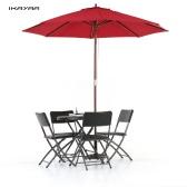 iKayaa 2.7M de madera de sombra de jardín del patio paraguas Sun Café al aire libre Parasol Canopy 8 costillas 38MM Polo W / salida de aire del poliéster 180g