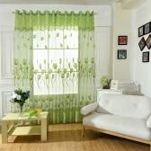 ドレープスカーフカーテンベッドルームの装飾2PCSをスクリーニングドア窓ルームの装飾窓用Anselfチューリップの花ジャガード燃え尽きハーフシェーディングボイルカーテン