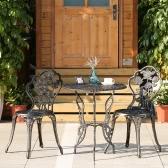 iKayaa 3PCS moderne Patio extérieur Bistro Set Fer Aluminium Porche Balcon Jardin Table et chaises Set Meubles Design Rose Antique Copper