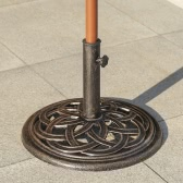 iKayaa 19.8LB Heavy Duty Patio Garden Umbrella Base Stand Cast Iron Anti-Rust Antique Copper Color