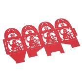 50pcs Delicate Carved Snowman bonbons Cookie Coffrets de bricolage de Noël avec le ruban pour Day Party de Noël banquet de mariage