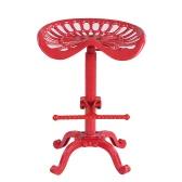 iKayaa Industrial Style Cast Iron Tractor Seat Bar Stool Adjustable Height Swivel Metal Barstool Chair W/ Footrest