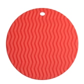Circular  Waved Shape Insulation Cushion Multi-functional Silicone Heat Resistant Pad Non-slip Kitchen Use  Anti Ironing Casserole Mat Tray Pad Orange