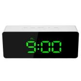 Cyfrowy zegar z lustrem LED USB i baterią 12H / 24H ° C / ° F Wyświetlacz Budzik z funkcją drzemki Regulowana luminancja LED - zielona