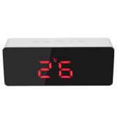 Digital LED Mirror Clock USB & Battery Operated 12H/24H °C/°F Display Alarm Clock with Snooze Function Adjustable LED Luminance--Green