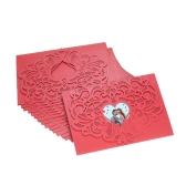 20pcs/set Wedding Invitation Cards Pearl Paper Laser Cut Hollow Heart Pattern Invitation Cards Kit--Red