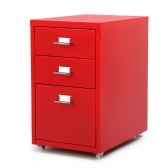 iKayaa Metal Drawer Filing Cabinet Detachable Mobile Steel File Cabinets w/ 3 Drawers 4 Casters