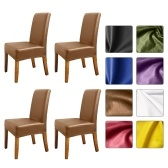 Stretch Solid Pu Leather Waterproof Dining Chair Cover Slipcover Removable Washable Short Dining Chair Protector Seat Solid Slipcovers for Hotel Dining 4pcs Brown