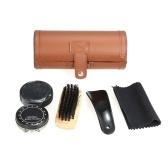 6PCS Shoe Polish Care Kit Leather Shoe Shine Set Shoe Brushes Compact Shoe Cleaning Kit with PU Leather Case Brown