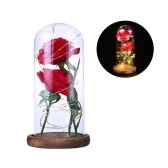 Two Roses Glass Cover L-ED String Light Romantic Table Lamp Valentine