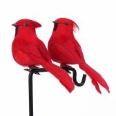 2 pièces artificiel oiseau mur Sculpture décorative Simulation mousse oiseaux décoration de la maison artisanat ornement extérieur jardin arbre