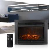 """Homgeek 28.7 """"* 21"""" Embedded eléctrico relleno de la chimenea del calentador de cristal Ver ajustable LED Llama la posición de cocción 1500W con mando a distancia"""